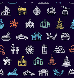hong kong signs seamless pattern background on a vector image