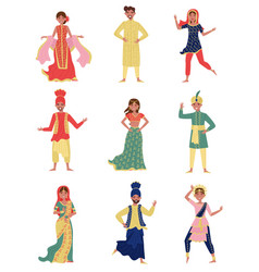 Indian young men and women in national costumes vector