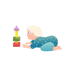 Infant cute blonde toddler boy sitting playing vector