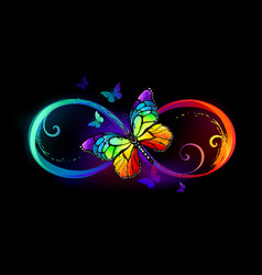 Infinity with rainbow butterfly vector