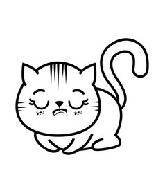 Isolated cute tired cat vector