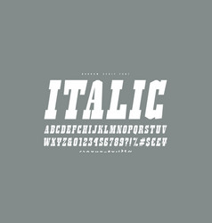 italic slab serif font in western style vector image