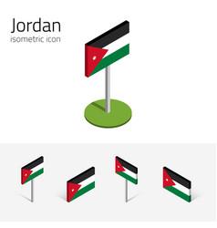 Jordan flag set 3d isometric flat icons vector