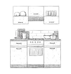 Kitchen cupboard Hand drawn furniture vector