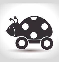 Ladybug with wheels baby toy vector