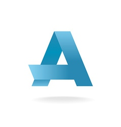 Letter A logo template Vlue straight origami vector image vector image