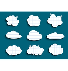 Lined and checked clouds collection vector image