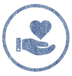 Love heart offer hand rounded fabric textured icon vector