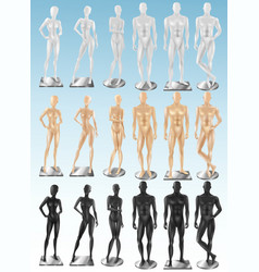 Mannequins 3 color realistic sets vector