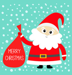 Merry christmas santa claus holding carrying sack vector