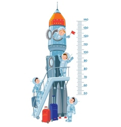 Meter wall with rocket and boys-astronauts vector