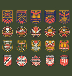 Military chevrons icons army stripes set vector