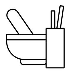 mortar with pestle icon outline style vector image