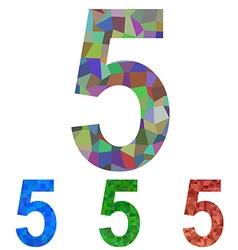 Mosaic font design set - number 5 vector image