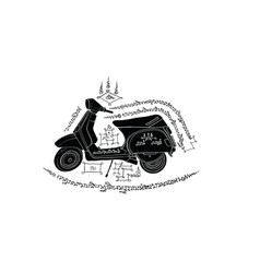 Motocycle in thai tradition paintingthai tattoo vector