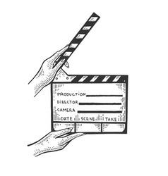 movie clapperboard sketch engraving vector image