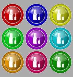 Nail polish bottle icon sign symbol on nine round vector