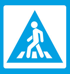 Pedestrian road sign icon white vector