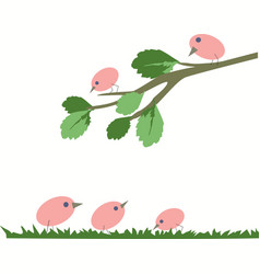 pink birds sitting on a branch vector image