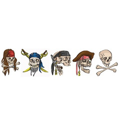 Pirates - skulls collection Colored vector