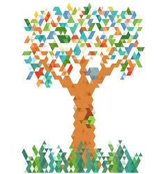 Pixel colorful tree vector