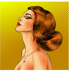 Pop art beautiful red haired woman portrait vector