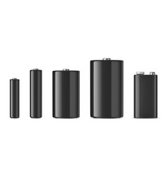 Realistic black alkaline batteriy icon set vector