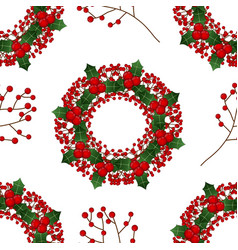 red berry christmas wreath on white background vector image