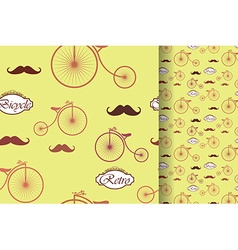 Retro bicycle and moustache seamless pattern vector image