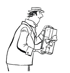 retro man gives a gift vector image