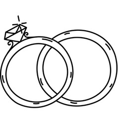 Rings icon doddle hand drawn or black outline vector