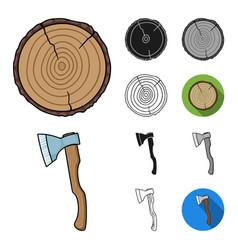 sawmill and timber cartoonblackflatmonochrome vector image