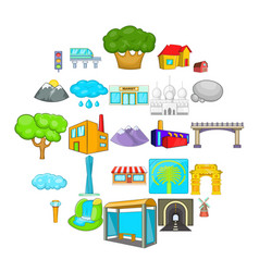 scene icons set cartoon style vector image