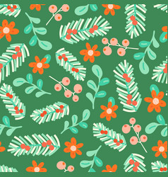 seamless pattern christmas floral elements vector image