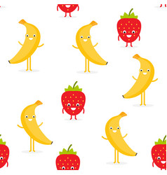 seamless pattern strawberry and banana fruit vector image