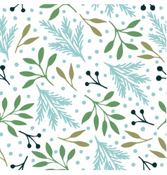 Seamless pattern with christmas blue and green vector
