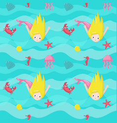 Seamless pattern with cute little mermaids vector