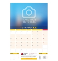September 2017 wall monthly calendar for 2017 vector
