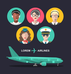 Set airplane and cabin crew and airport vector