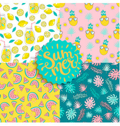 set colorful seamless summer patterns vector image