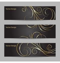 set horizontal banners with swirl pattern vector image