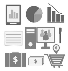 Set internet investor at home icons vector