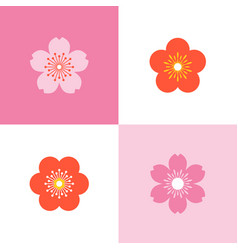 set of cherry blossom and sakura vector image