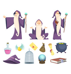 set of magician tools and male wizard character vector image