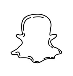 Snapchat icon doodle hand drawn or black outline vector