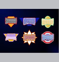 Sport emblem typography set super hero baby vector