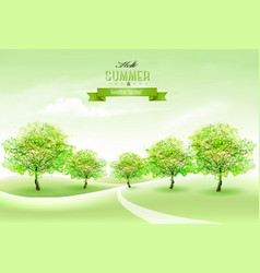 summer nature background with green trees and vector image