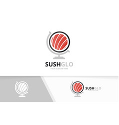 sushi and globe logo combination japanese vector image
