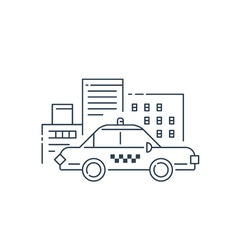 Taxi car and buildings concept vector