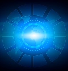 Tech Circle and World Map Background vector image